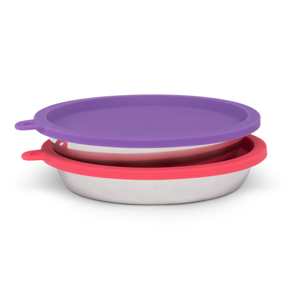4pc Set with Two Stainless Saucer Shaped Bowls and Two Silicone Lids, 1.75 Cups Per Bowl, Watermelon and Purple Lids