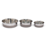 Stainless Steel Heavy Gauge Bowl with Non-Slip Removable Silicone Base, Large, 4.5 Cups, Warm Grey