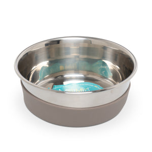 Stainless Steel Heavy Gauge Bowl with Non-Slip Removable Silicone Base, Medium, 2.5 Cups , Warm Grey