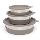Stainless Steel Heavy Gauge Bowl with Non-Slip Removable Silicone Base, Extra Large, 8 Cups , Warm Grey