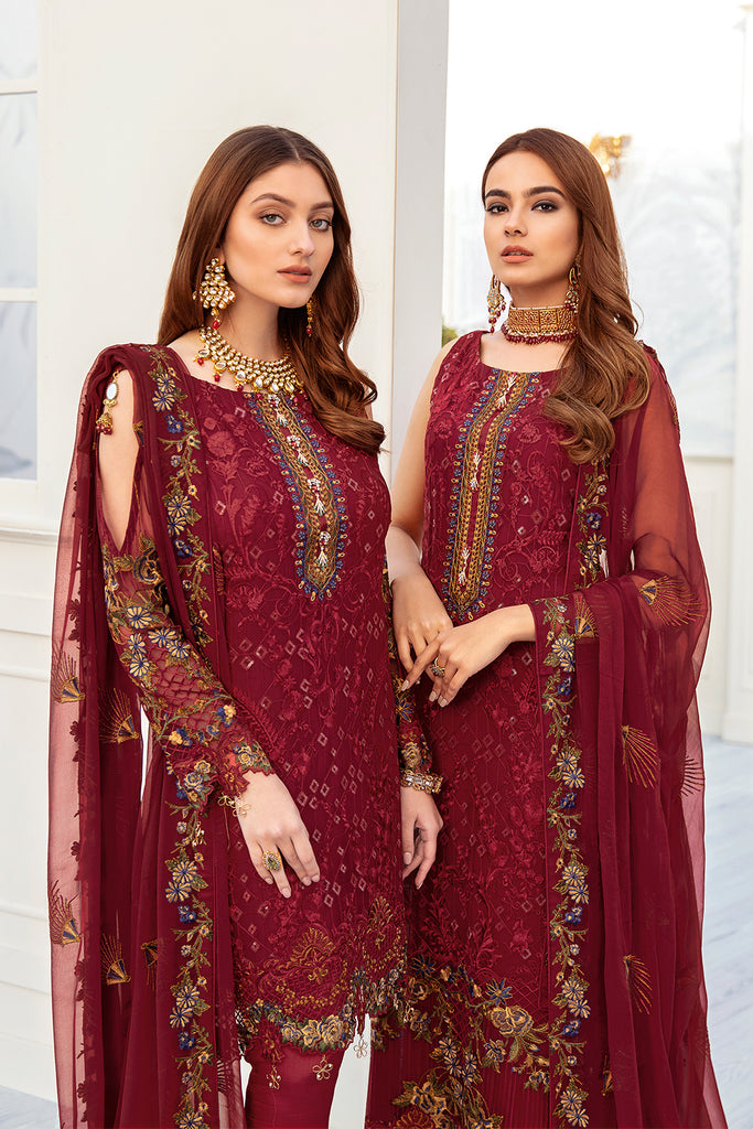 A-205 Ramsha Embroidered Chiffon Chevron Collection 1