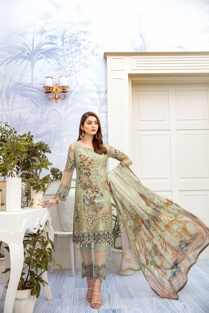 A-204 Ramsha Embroidered Chiffon Chevron Collection 1