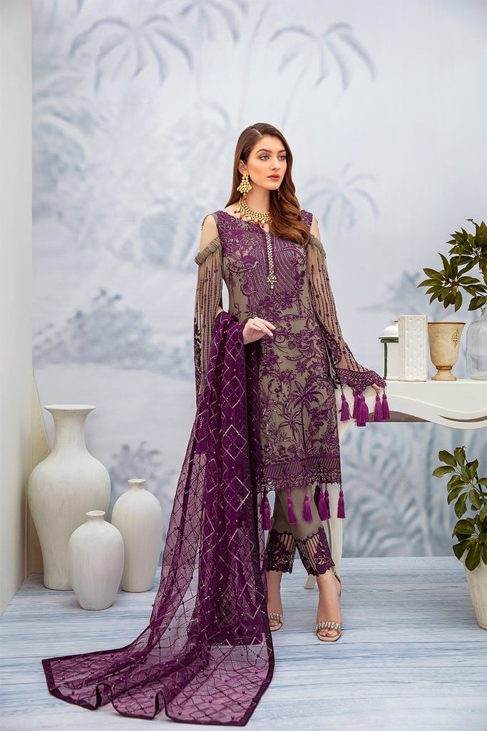 A-201 Ramsha Embroidered Chiffon Chevron Collection 1