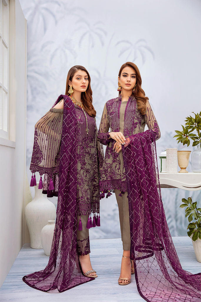 A-201 Ramsha Embroidered Chiffon Chevron Collection
