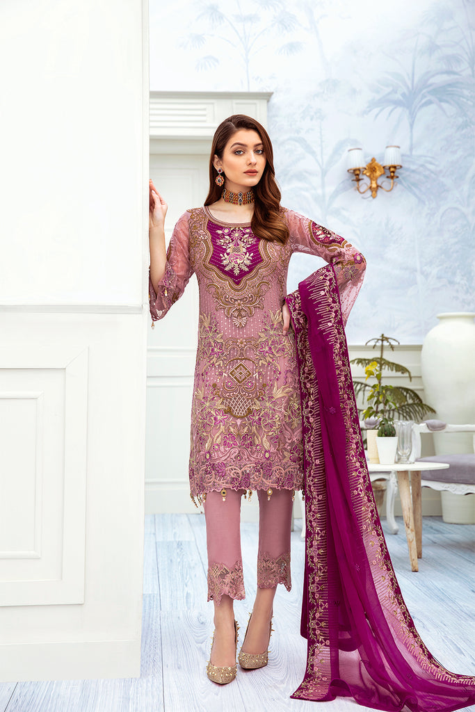 A-210 Ramsha Embroidered Chiffon Chevron Collection 1
