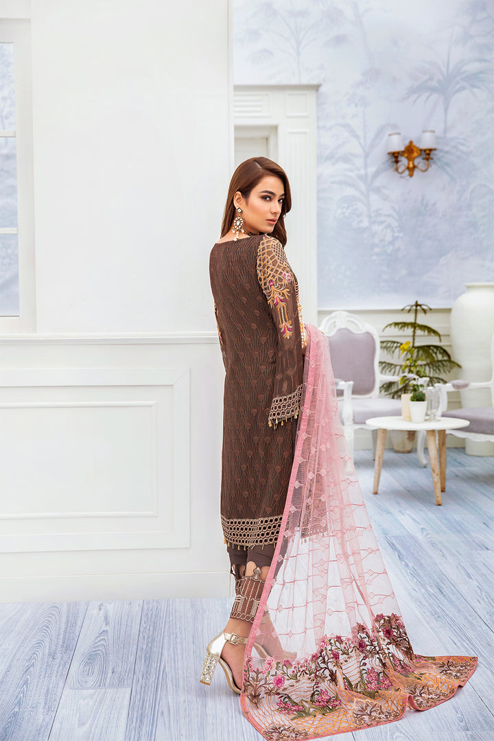 A-212 Ramsha Embroidered Chiffon Chevron Collection