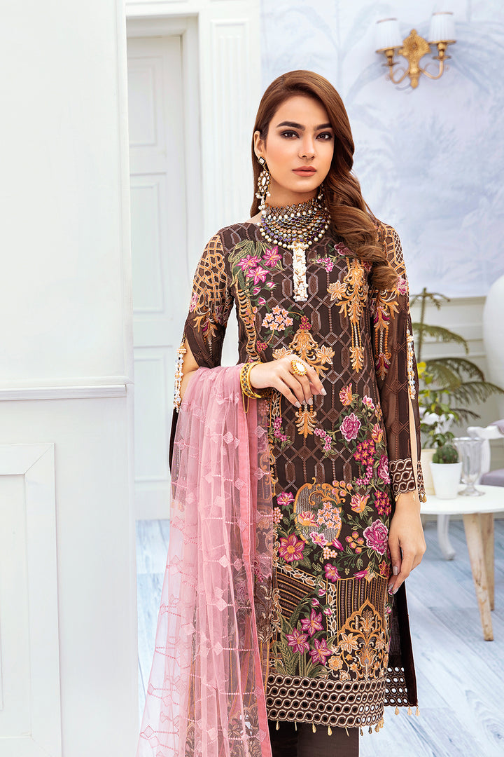 A-212 Ramsha Embroidered Chiffon Chevron Collection 1