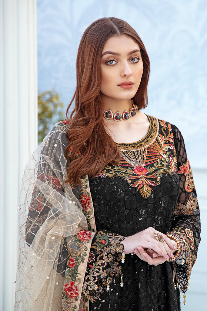 A-208 Ramsha Embroidered Chiffon Chevron Collection