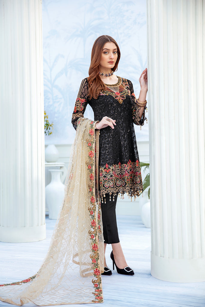 A-208 Ramsha Embroidered Chiffon Chevron Collection 1