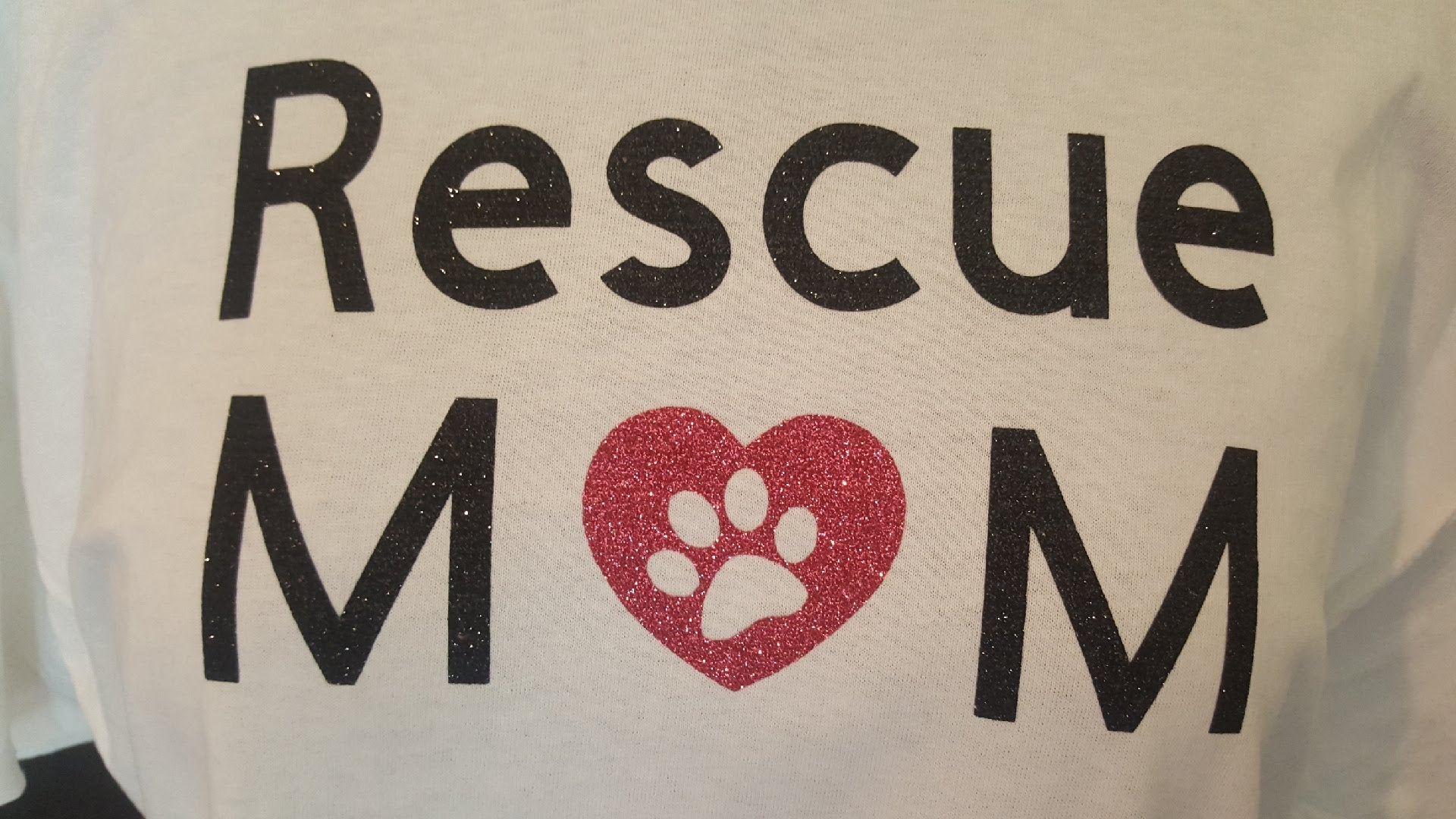 Rescue Mom Full Glitter T-Shirt - Free Shipping