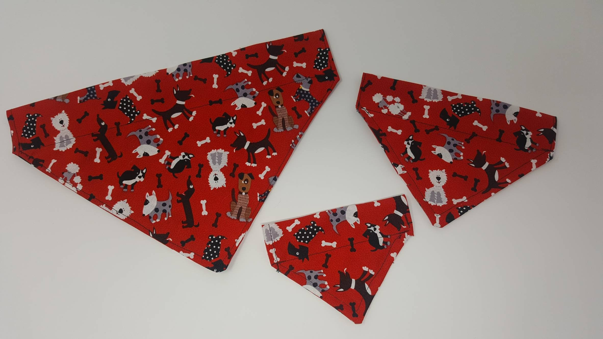 Red Crazy Dogs Handmade Collar Through Dog Bandana