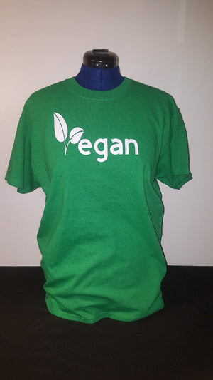 Vegan shirt - Green with White Letters