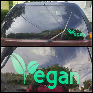 Handmade Green Vegan Leaf Decal - Shipping Included