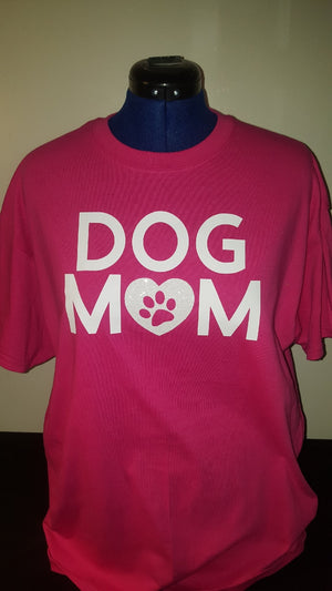 Dog Mom T-shirt -Pink with white Glitter heart