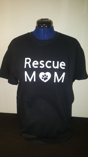 Rescue Mom T-shirt - Black with Glittery White Heart