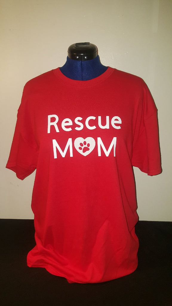 Red Glittery Heart Rescue Mom T-shirt - Free Shipping