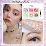 CHEEKDOURL 6 Colors Self-adhesive Cosmetic Glitter For Face/ Body/ Nail Multiple Shapes Glitter Sequins, No Need Extra Glue