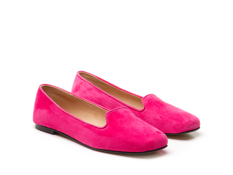 Mocassino slippers in pelle scamosciata - Giuliana - fuxia