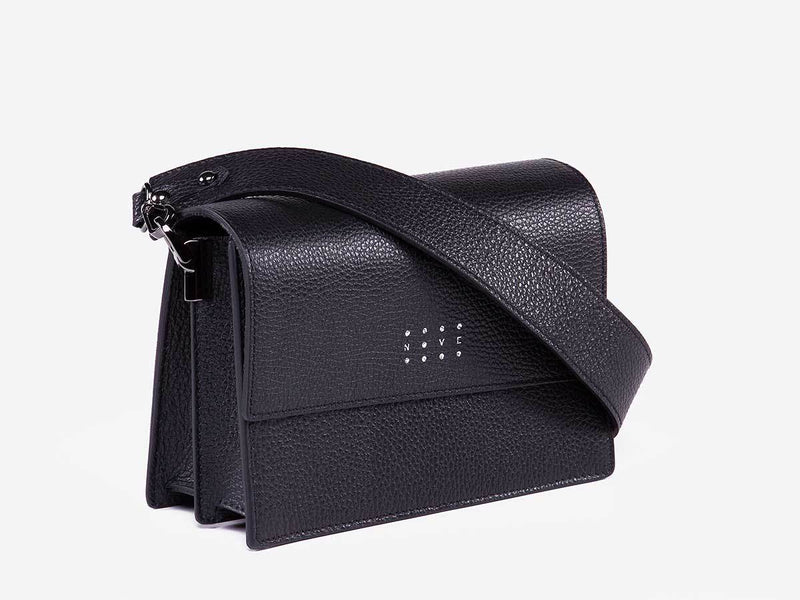 Borsa a tracolla in pelle nero Tea - laterale