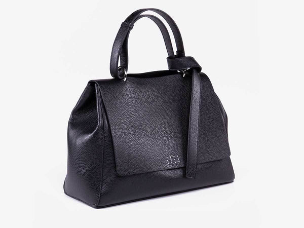 Borsa a spalla in pelle nero Costanza - laterale