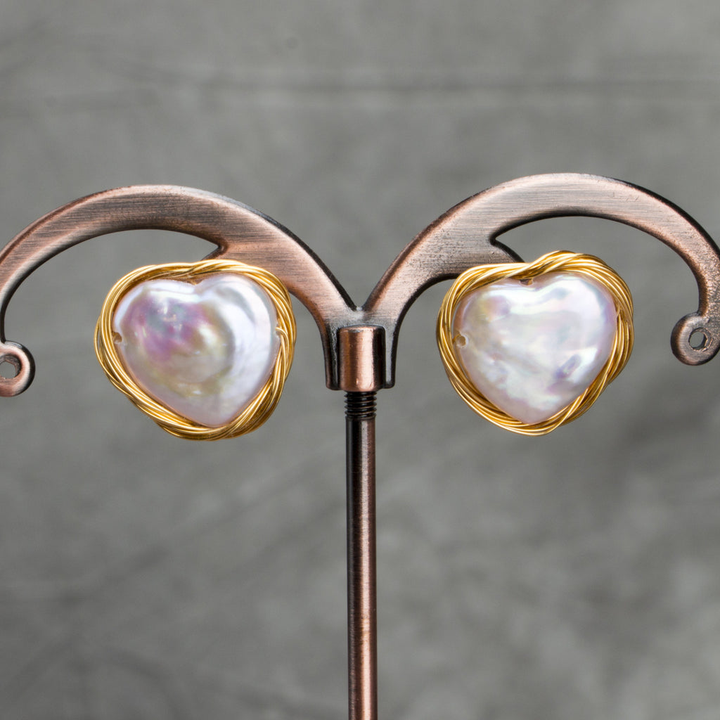 Baroque Pearl Winding Heart Earrings. - Sakura Avenue