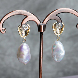 14K Gold Filled Baroque Pear Drop Earrings - Sakura Avenue