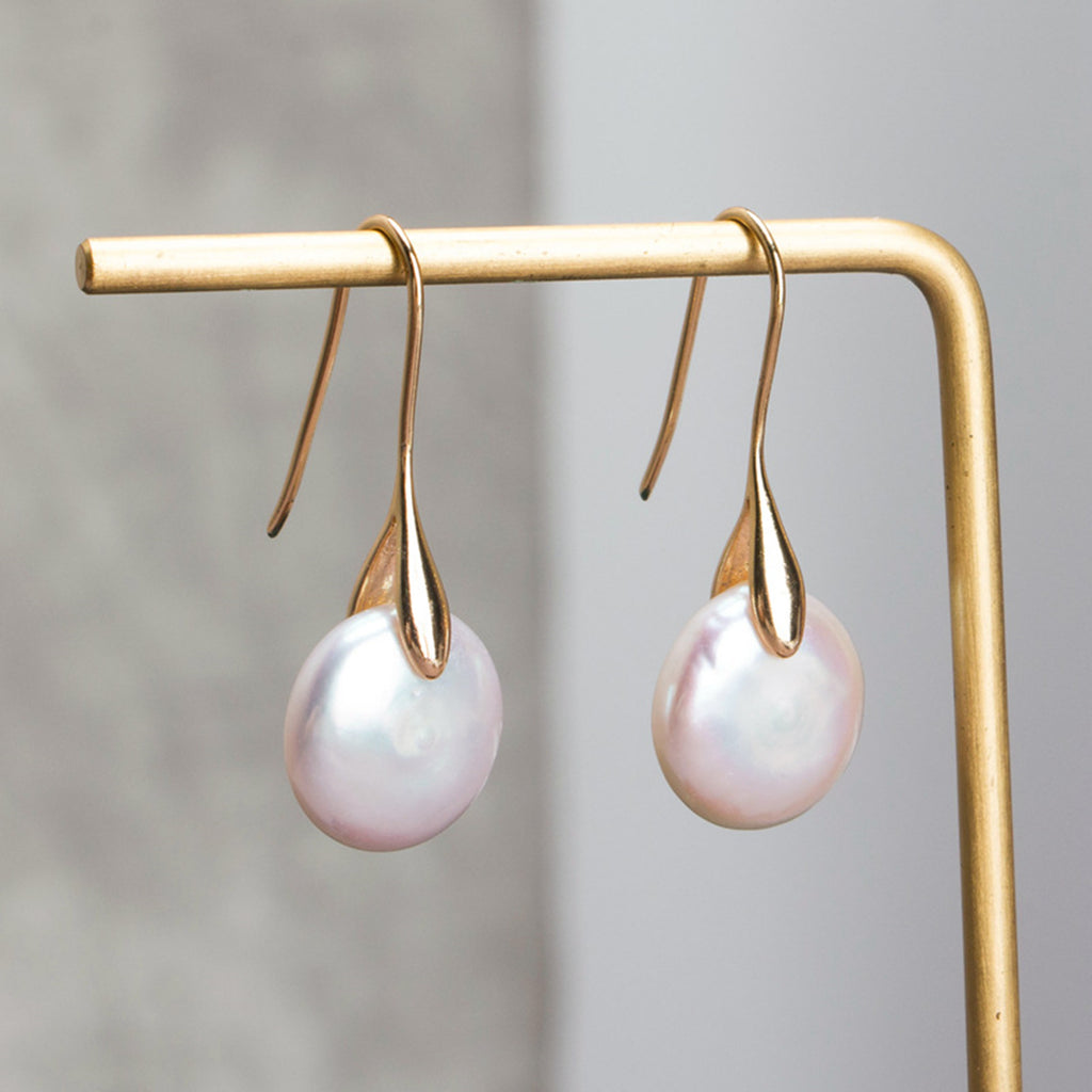 French Button Shaped Semi-baroque Pearl Earrings, - Sakura Avenue