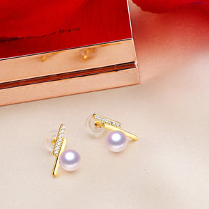 Freshwater Pearls 925 Silver Lighting Stud Earrings - Sakura Avenue