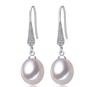 Cubic Zirconia Crystals Freshwater Pearl Drop Earrings - Sakura Avenue
