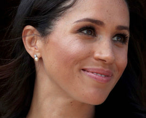 Meghan Markle Celebrity Inspired Cubic Zircon Pearl Bridal Earrings - Sakura Avenue