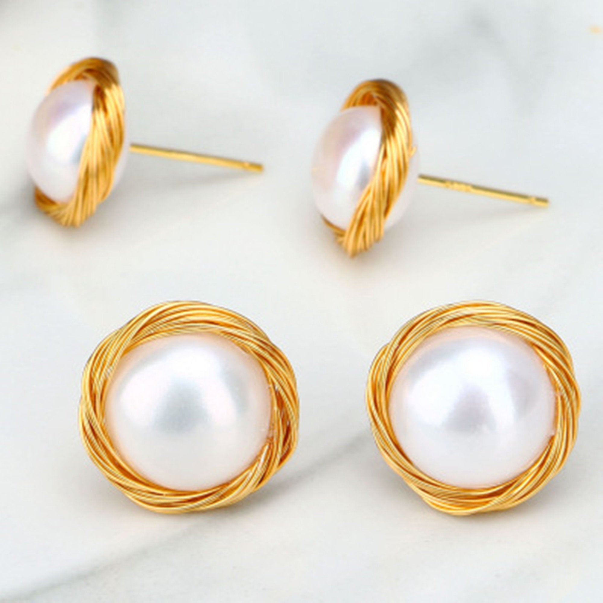 14K Gold Filled Hand Wound Pearl Stud Earrings - Sakura Avenue