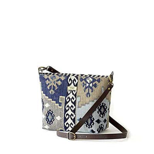 Navy Kilim Cross Body Bag