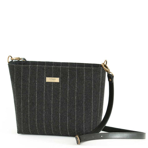 Black Pinstriped Crossbody Bag with leather strap, by Umpie Bags