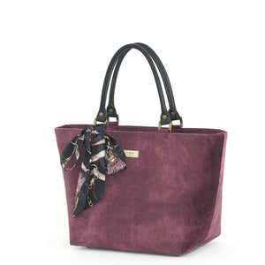 Aubergine Velvet Grab Bag with black leather handles & Twilly Scarf, by Umpie Bags