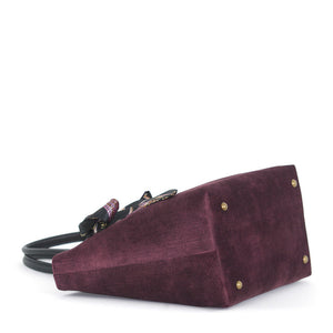 Base view of Aubergine Velvet Grab Bag with black leather handles & Twilly Scarf