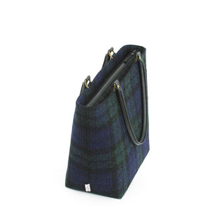 Zip-top view of Harris Tweed Blackwatch Tartan Shoulder Bag with Black leather handles by Umpie Bags