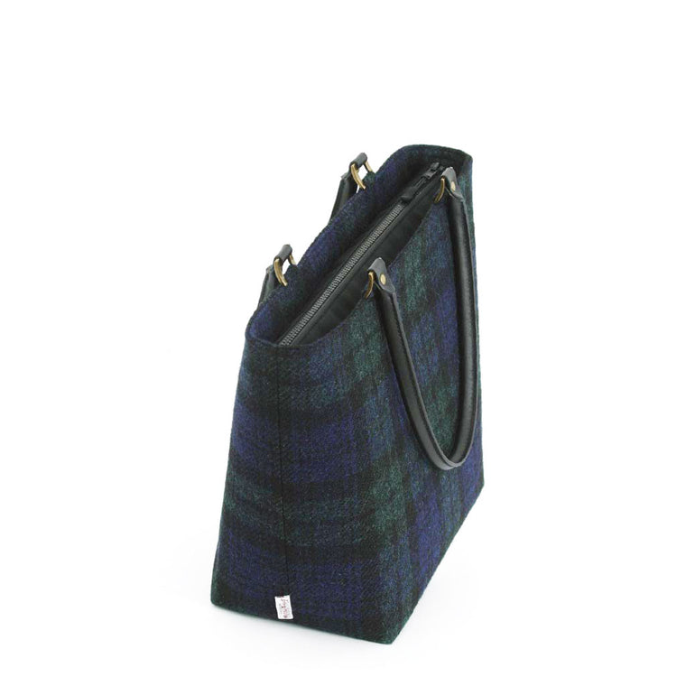 Grey Tartan Shoulder Bag / Leather Trim by Umpie Handbags