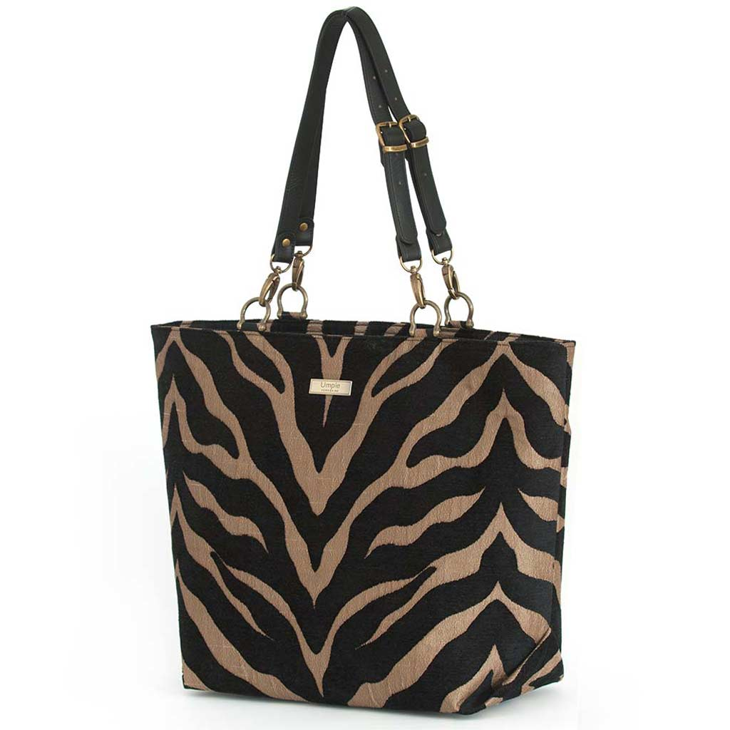 Tiger Print Tote Bag with black leather handles by Umpie Bags