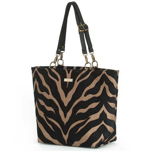 Tiger Print Tote Bag with black leather handles