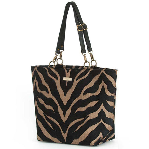 Tiger Tote Bag in Black/Bronze with black leather straps, by Umpie Bags
