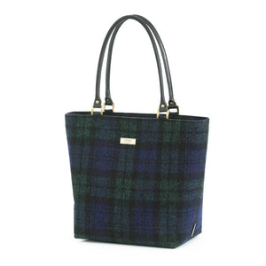 Harris Tweed Blackwatch Tartan Shoulder Bag with Black leather handles by Umpie Bags