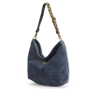Blue Velvet Hobo Bag with Leopard Print Hair-on-hide Leather Strap, by Umpie Bags