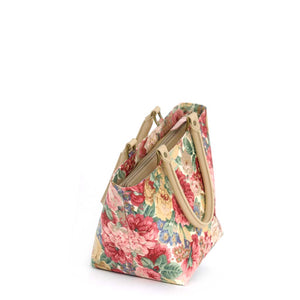 Zip-top view of Pink Floral Handbag with tan leather handles, by Umpie Bags