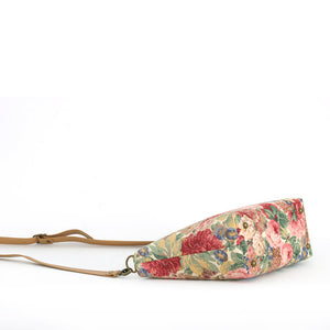 Base view of Pink Floral Crossbody Bag with tan leather strap, by Umpie Bags