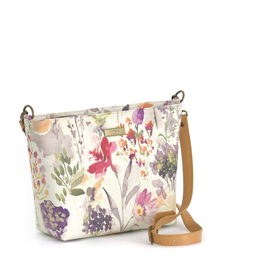 Floral Crossbody Bag Pink fabric with tan leather strap