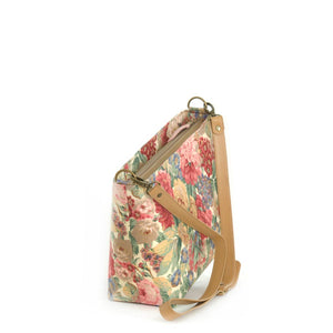 Zip-top view of Pink Floral Crossbody Bag with tan leather strap, by Umpie Bags