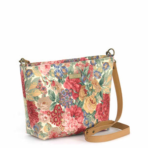 Front view of Pink Floral Crossbody Bag with tan leather strap, by Umpie Bags