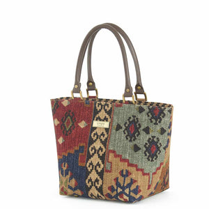 Kilim Handbag Navy/Wine with brown leather handles