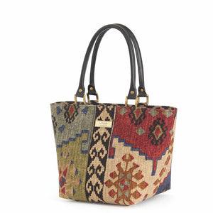 Kilim Handbag Wine Green with black leather handles