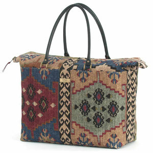 Navy Kilim Fabric Weekend Bag with leather handles, by Umpie Handbags